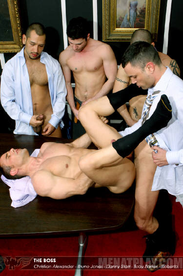 Gay office orgy